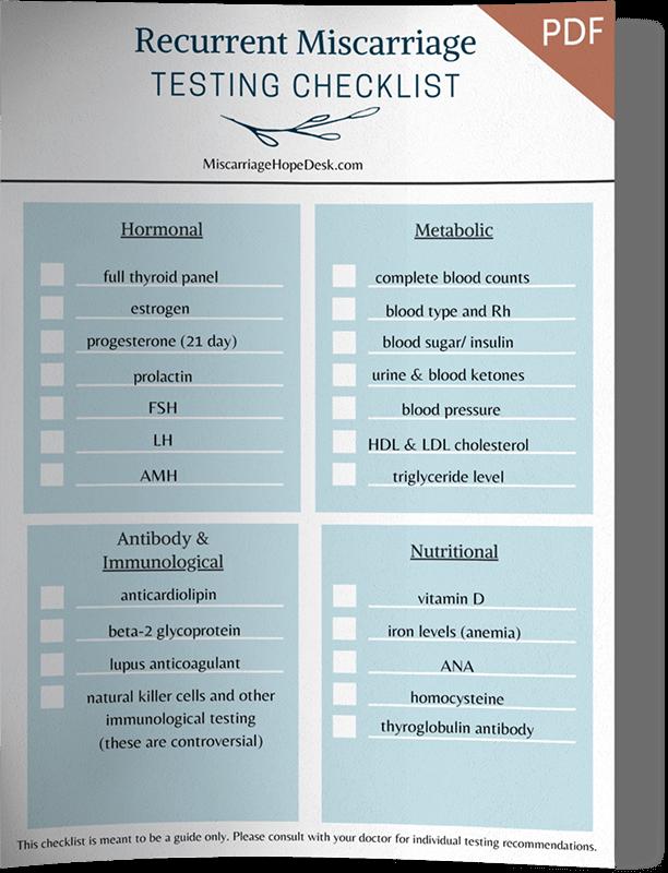 Recurrent Miscarraige Testing Checklists PDF download
